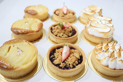 Pear Almond Cream Tart, Berry Crumble Tart, Lemon Meringue Tart